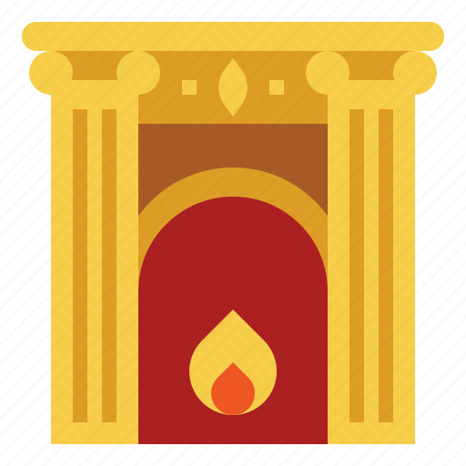 chimney, fireplace, living, room, warm, winter icon