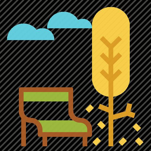 fall, park, seat, tree, urban icon