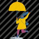 autumn, girl, people, person, rain, umbrella, woman