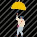 cloud, girl, people, person, rain, umbrella, woman