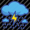 climate, rainy, strom, thunder, weather icon