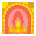 fireplace, household, living, urniture, warm icon