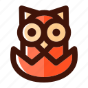 animal, autumn, bird, hatch, owl, wild, wildlife icon