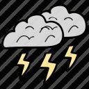 hazard, raining, storm, thunder, thunderstorm, weather icon