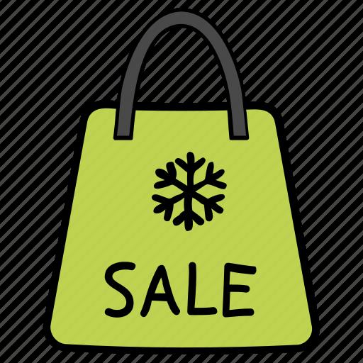 sale, shopping, shopping bag, winter sale, winter shopping icon