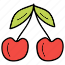 cherries, food, fruit, healthy food, stone fruit icon