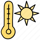 summer, temperature measurement, thermometer and sun, weather icon
