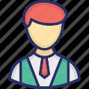 accountant, banker, employee, manager, senior employee icon