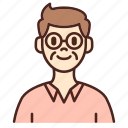 avatar, glasses, user, profile, man, male, old