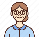 avatar, glasses, user, profile, woman, female, old