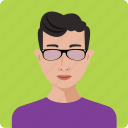 avatar, boy, glasses, human, person, portrait, profile icon