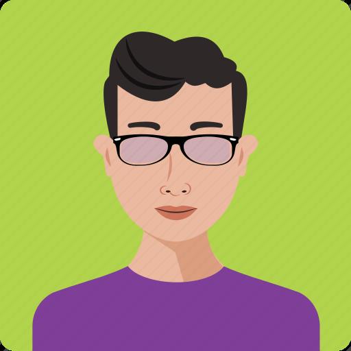 avatar, boy, glasses, human, person, portrait, profile icon