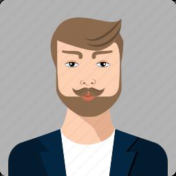 business, head, human, male, men, moustache, serious icon