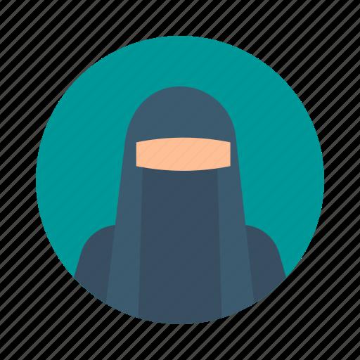 arab, avatar, beautiful, hijab, muslim, person, portrait icon