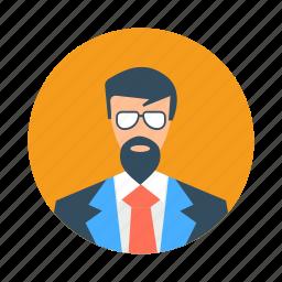 avatar, beard, boy, casual, fashion, glasses, handsome icon