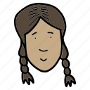 avatar, doodle, girl, people, profile, woman, young icon