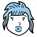 avatar, doodle, girl, people, profile, woman, young