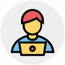 admin, computer, employee, laptop, men, people user icon