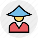 asian, avatar, conical, hat, japanese, man, traditional icon