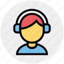 avatar, boy, disk jockey, headphones, male, music, music listening icon
