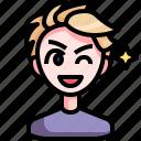 avatar, boy, cool, handsome, man, person, wink icon