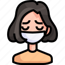 avatar, girl, mask, medical, person, sick, woman