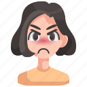 angry, avatar, girl, person, pouting, woman