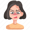 angry, avatar, girl, person, woman icon
