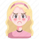 angry, avatar, disfavor, girl, person, woman
