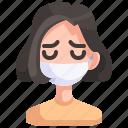 avatar, girl, mask, medical, person, sick, woman