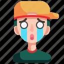 avatar, boy, cry, man, person, sad