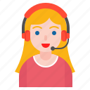 avatar, business, call center, support, woman icon