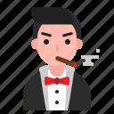 avatar, cigar, mafia, male, man, suit icon