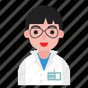 avatar, gown, male, man, scientist, uniform icon