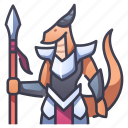 armor, character, dragon, knight, monster, rpg, spear