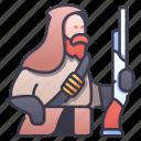 beard, character, dwarf, gun, gunner, old, rpg icon