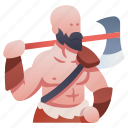 axe, barbarian, character, rpg, viking, warrior, weapon icon