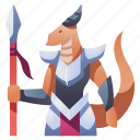 armor, character, dragon, knight, monster, rpg, spear icon
