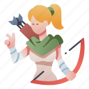 archer, bow, character, elf, fantasy, hunter, rpg icon