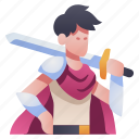 character, knight, medieval, rpg, sword, swordsman, warrior icon