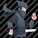 assassin, character, japan, katana, ninja, rpg, warrior icon