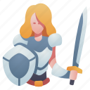 character, knight, medieval, rpg, shield, sword, weapon icon