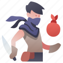 bandit, character, crime, knife, rpg, thief, weapon icon
