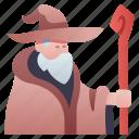 character, fantasy, magic, magician, rpg, sorcerer, wizard icon