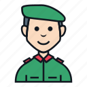 avatar, boy, character, man, military, people, soldier icon