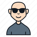 avatar, bald, boy, character, glasses, people, profile icon