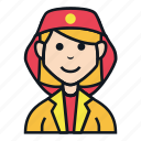 avatar, character, female, fire, job, people, woman icon