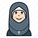 avatar, character, christian, female, nurse, people, woman icon