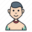 avatar, boy, gangster, people, profile, smile, tattoo icon