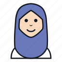 avatar, hijab, islam, muslim, people, veil, woman icon